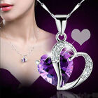 SUP Fashion Women Heart Crystal Rhinestone Silver Plated Chain Pendant Necklace