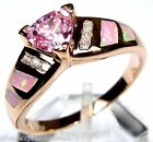 Rose Gold plated 925 Sterling Silver Pink Fire Opal and Pink Topaz ring Sz 7-8