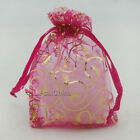 Gold Bine Hot Pink Organza Wedding Favour Gift Bags Pouches 7x9,9x12,13x17cm