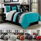 Chezmoi Collection 7-piece Luxury Leaves Scroll Embroidery Bedding Comforter Set image