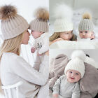 2Pcs Mother Kids Baby Child Warm Knit Beanie Fur Pom Hat Crochet Ski Cap USA