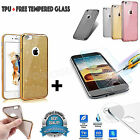 Luxury-Bling Glitter Soft Ultra Thin Rubber Case TPU-Cover For All iPhone+Glass