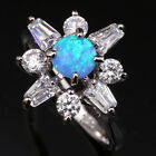 Noblest Flower Blue Fire Opal White Topaz Fashion Silver Ring Size 6 7 8 9 T1130