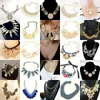 New Women Bib Crystal Bar Leaf Pendant Collar Chunky Chain Choker Necklace Lot