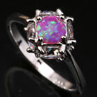 Royal Pink Fire Opal Nice Circle Ball Topaz Gems Silver Ring Size 6 7 8 9 T1147