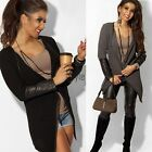 Fashion Women Jacket Blazer Long Sleeve Knitwear Leather Cardigan Coat Outwear U