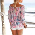 Women Boho Gypsy Summer Floral Off Shoulder Tops Loose Casual Shirt Blouse Tee U