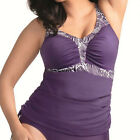 Elomi Swimwear Madeira Gathered Tankini Top Aubergine Purple 7703 NEW