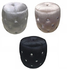 Glitz Diamante Buttoned Velvet Pouffe Foot Stool Mink Buttoned Chair