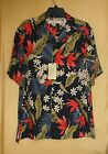 Island Republic mens button black coral green floral shirt top 100% silk L $78