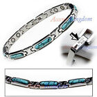 Accents Kingdom Women's Turquoise Stainless Steel Magnetic Golf Link Bracelet