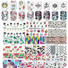 2sheets Nail Art Stickers Water Transfer Decals Owls Flowers Mix Manicure DIY