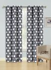 2 Window Curtains Design Blackout Lined Panels Silver Grommets Top, ALMA BLACK