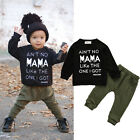 2PCS Kids Baby Toddler Boy Clothes Set T-shirt Tops Pants Leggings Outfits US