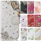 PU Leather Flip Bling Rhinestone Diamond Wallet Case Cover For Samsung Various