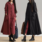Vintage Women's Long Sleeve Cotton+Linen Pockets Hooded Plate Buckles Maxi Dress