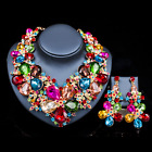 New bride Women Wedding Party set Jewelry Flower Crystal statement necklace set