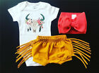 US Stock Newborn Baby Girls Deer Tops Romper Tassels Pants Shorts Outfit Clothes