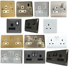 1&2 Gang 13A Wall Socket Outlet Electrical Single Double White Chrome Plug