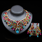 Women bride Wedding Party set Jewelry color Crystal collar necklace ear set