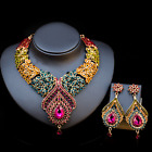 Women bride Wedding Party set Jewelry Flower Feather Statement necklace set