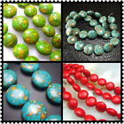 """8mm 10mm 12mm 14mm 20MM Blue  Red Green Oblate Turquoise Gems Spacer Beads 16"""""""