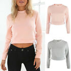 Women Long Sleeve Lace-up Crop Top Blouse Pullover Sweatshirt Cropped Hoodie NEW