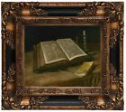 van Gogh Still life with Bible Wood Framed Canvas Print Repro 8x10