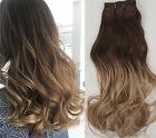 """18"""" Full Head Ombre Hairpieces Clip in Human Hair Extensions 6pcs Pack"""
