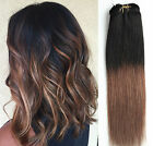 """12"""" Short Ombre Hairpieces Clip in Human Hair Extensions Full Head 6pcs Pack"""