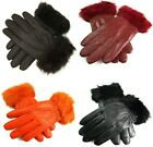 New Womens Ladies Super Soft Real Leather Faux Fur Trim Fleece Lined Gloves Warm