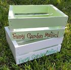 "Personalized Fairy Garden Planter (Hand-Painted Lined Wood Crate 12"" x 10 x 5"")"