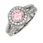 925 Sterling Silver Pink and White Synthetic Cubic Zirconia Round Halo Ring