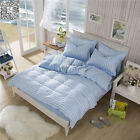 Blue Stripe Duvet Cover Pillow Cases Reversible Navy Quilt Cover Bedding Set New