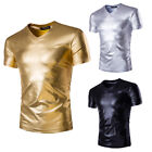 Fashion Men's V-Neck Tops Tee Shirt Slim Fit Short Sleeve Casual T-Shirt Cotton