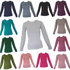 Ladies Womens Basic Crew Neck Long Sleeve Basic Jersey Top Made in Turkey