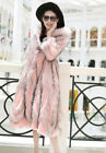 Womens Mixed Colors Hooded Fur Parka Long Outerwear Fashion Winter Overcoat D933