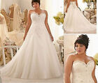 New White/Ivory Tulle Lace Bridal Gown Wedding Dress Stock Plus Size 14-26W