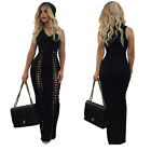 Womens Sleeveless V neck Bodycon Lace Up Clubwear Party Cocktail Maxi Dress