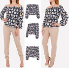 New Women Off Shoulder Casual Ruffle Top Ladies Loose Summer Floral Shirt Blouse