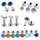 Surgical Steel Opal Labret Monroe Lip Rings Tragus Earring 16G 8mm Ear Cartilage