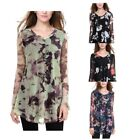 Women's V Neck Mesh Floral Printed Loose Fit A line Flared Long Sleeve Top Tunic