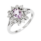 925 Sterling Silver Pink Quartz and Diamond Oval Scroll Flower Ring - 0.666cttw
