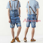 Fashion Men Ripped Denim Suspender Overalls Short Trousers Jumpsuits Jeans Pants