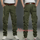Hot Men Casual Loose Multi Pocket Overalls Pants Work Cargo Cotton Long Trousers