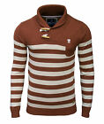Soul Star Men's Hayrick Shawl Neck Striped Jumper Rust