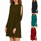 Fashion Women's Casual Plain Long Sleeve Round Neck T-Shirt Loose Mini Dress