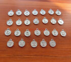 26 Silver A-Z Alphabet Letter Charm Round Capital Letter Add on Charm 12x12 0006