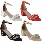 LADIES LOW BLOCK HEEL ANKLE STRAP BARELY THERE PEARL OPEN PEEP TOE SANDALS SIZE