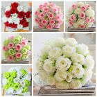 18 Heads Artificial Rose Bouquet Silk Flower Decor Home Wedding Party Bridal US